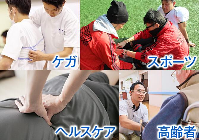 「ケガ」「スポーツ」「ヘルスケア」「高齢者ケア」4大柔整ゼミを知ろう!